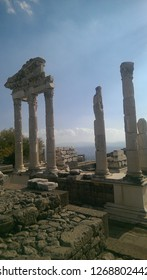 bergama acropolis, historical place, ancient, Temple of Trajan in ancient city Pergamon, Bergama, Izmir, Turkey in a beautiful summer day