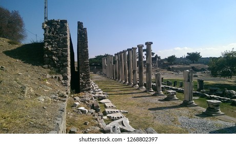 bergama acropolis, historical place, ancient,Temple of Trajan in ancient city Pergamon, Bergama, Turkey in a beautiful summer day