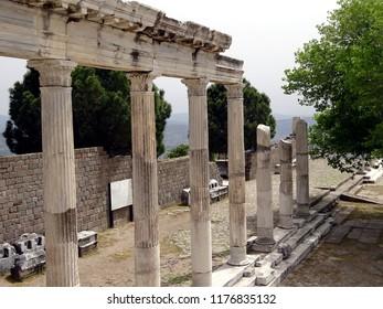 Bergama Acropolis. Part of antic temple  in the ancient city of Pergamon, Bergama, Izmir Turkey