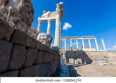 Bergama Acropolis (Temple of Trajan in the ancient city of Pergamon, Bergama, Turkey in a beautiful summer day.)