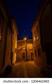Bergama, Izmir/ Turkey - 10/14/2018: View of narrow street of Bergama (Pergamon) at night, Izmir/ Turkey