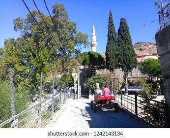 Bergama, Izmir / Turkey - 10/14/2018 : View of narrow street of Bergama (Pergamon).