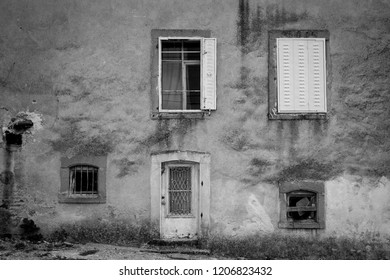 Bergama, Izmir/ Turkey - 10/14/2018: Wall of old house in Bergama, Izmir, Turkey