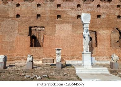 Bergama, Izmir / Turkey - 10/15/2018: Detail of Serapeion Bazilika (Temple of Egyptian Gods) , Pergamon (Bergama)/ Turkey