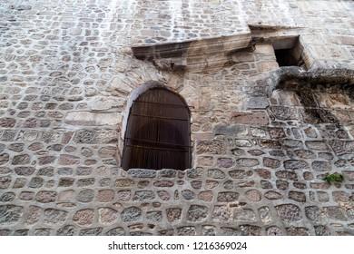 Bergama (Pergamon), Izmir / Turkey - 10/14/2018 : The view of the the mosque wall.  Bergama Ulu Mosque (Yildirim Mosque), Bergama, Izmir, Turkey.