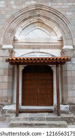 Bergama (Pergamon), Izmir, Turkey - 10/14/2018 : Door of the Bergama Ulu Mosque, Bergama, Izmir, Turkey