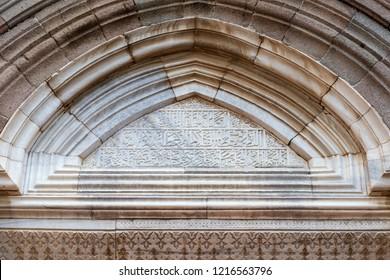 Bergama (Pergamon), Izmir, Turkey - 10/14/2018 : Detail of the door. Bergama Ulu Mosque, Bergama, Izmir, Turkey