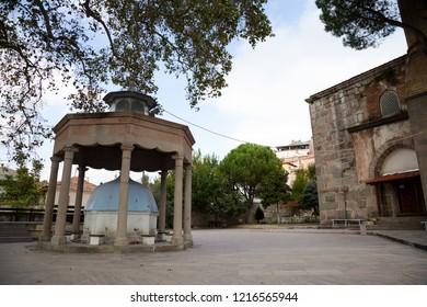Bergama (Pergamon), Izmir, Turkey - 10/14/2018 : Courtyard of the Bergama Ulu Mosque, Bergama, Izmir, Turkey