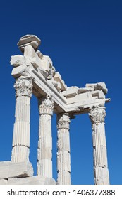 Bergama, Turkey: Ancient Traian Temple in Pergamon is among the places to visit tourists. September 1, 2012.