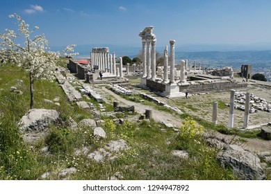 BERGAMA, TURKEY — APRIL 25, 2011. A tree in bloom and spring wildflowers enhance a view of the white-columned ruins of the Temple of Trajan on the acropolis of Pergamum.