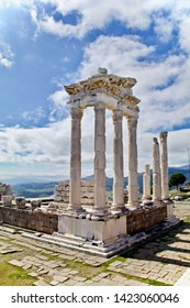 Bergama/ Turkey - February 17, 2018: The reconstructed Temple of Trajan at Pergamon (once a rich and powerful Ancient Greek city in Aeolis, now Turkey).