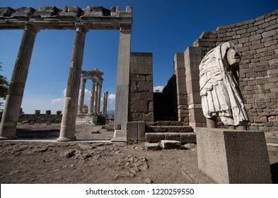 BERGAMA, TURKEY - OCTOBER 10, 2016: Sculpture of a warrior at Bergama (Pergamon) Asklepion