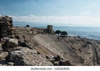 BERGAMA, TURKEY - OCTOBER 23, 2016 : Ancient theater of Bergama (Pergamon) Asklepion