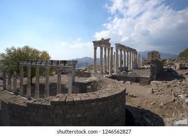 BERGAMA, TURKEY - OCTOBER 23, 2016 : Acropolis of Bergama (Pergamon)