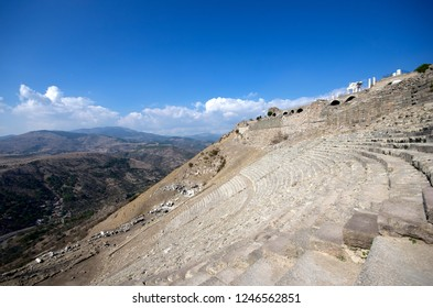 BERGAMA, TURKEY - OCTOBER 23, 2016 : Ancient theater of Bergama (Pergamon) Acropolis