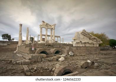 BERGAMA, TURKEY - OCTOBER 26, 2014 : Acropolis of Bergama (Pergamon)