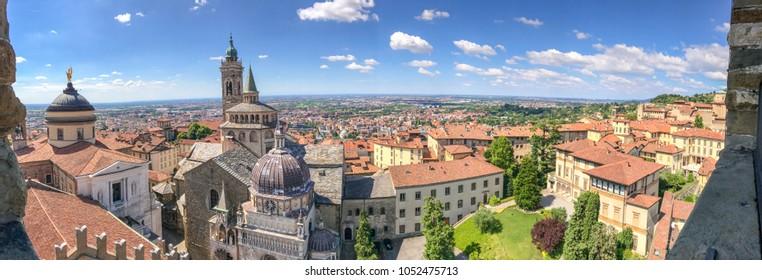 Bergamo Alta aerial panoramic view in summer season.
