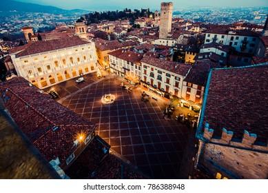 Bergamo Alta old town at sunset - S.Maria Maggiore Piazza Vecchia - Lombardy Italy