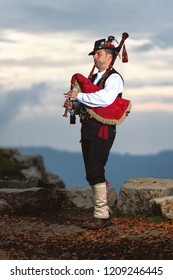 Bergamo Bagpipe. Player with traditional costume.