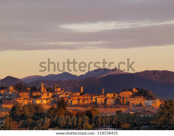 Bergamo Cityscape During Sunrise, Lombardy, Italy