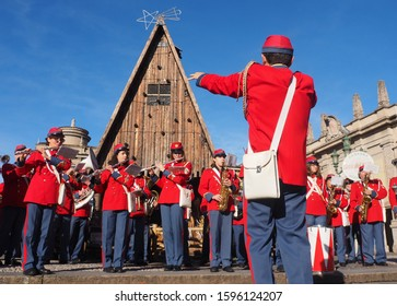 """Bergamo, Italy: 22 December 2019: Fanfare """"CIttà dei Mille""""  plays and parade in Bergamo city for Christmas greetings to the population"""