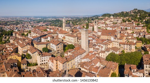 Bergamo, Italy. Amazing drone aerial view of the old town. Landscape at the city center, its historical buildings and the towers