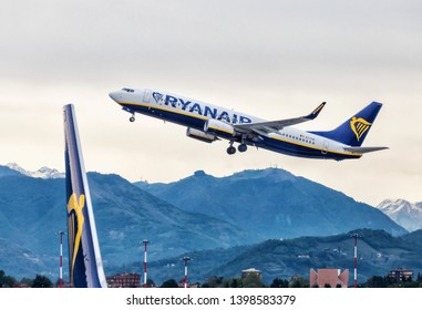 BERGAMO ITALY APR 29: Ryanair Boeing 737 lands at airport on April 29,2018 in Bergamo Italy.Ryanair Ltd. is an Irish low-cost airline headquartered in Swords, a suburb of Dublin, Ireland. - Image