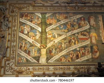 Bergamo, Italy. December 17, 2017. Interior view of the Santa Maria Maggiore Cathedral