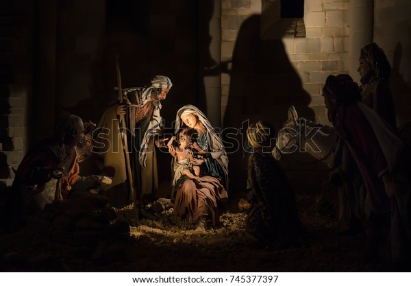 BERGAMO, ITALY -  DECEMBER 20, 2016: Christmas Nativity scene in the Cathedral in Piazza Duomo. Statues on Nativity scene: virgin Mary and Saint Joseph with Holy infant Jesus and Christmas Magi.