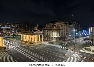BERGAMO, ITALY - DECEMBER 2017: Long exposure photo of Central street of Bergamo town, Italy