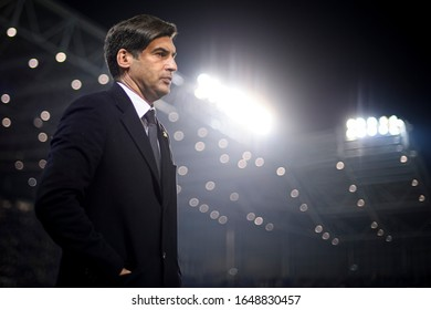 BERGAMO, ITALY - FEBRUARY 15, 2020: Paulo Fonseca, head coach of AS Roma, looks on prior to the Serie A football match between Atalanta BC and AS Roma. Atalanta BC won 2-1 over AS Roma.