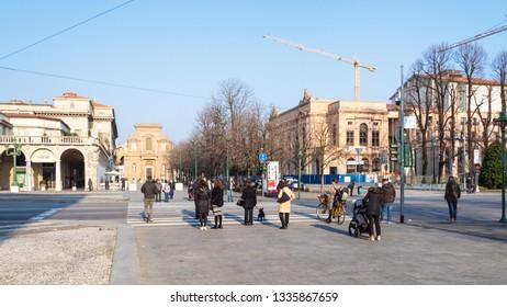 BERGAMO, ITALY - FEBRUARY 19, 2019: people walk on on square Piazza Giacomo Matteotti in Bergamo city. Bergamo is the capital of the Province of Bergamo in the Lombardy region of Italy, Lombardy