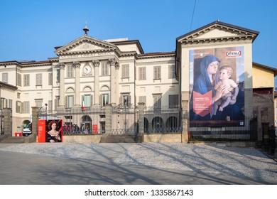 BERGAMO, ITALY - FEBRUARY 20, 2019: people near Accademia Carrara di Belle Arti di Bergamo (Art Gallery and Academy of Fine Arts) on Piazza Giacomo Carrara in Bergamo city, Lombardy