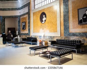 BERGAMO, ITALY - FEBRUARY 20, 2019: tourists in entrance hall of Accademia Carrara di Belle Arti di Bergamo (Art Gallery and Academy of Fine Arts) in Bergamo city, Lombardy