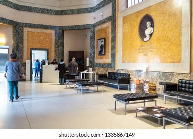 BERGAMO, ITALY - FEBRUARY 20, 2019: visitors in entrance hall of Accademia Carrara di Belle Arti di Bergamo (Art Gallery and Academy of Fine Arts) in Bergamo city, Lombardy