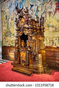 Bergamo, Italy - January 3, 2019. Confessional by Andrea Fantoni in The Basilica di Santa Maria Maggiore. Piazza del Duomo, Citta Alta, Bergamo, Lombardy, Italy.