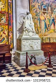 Bergamo, Italy - January 3, 2019. Funeral monument of Gaetano Donizetti in The Basilica di Santa Maria Maggiore, sculpture by Vincenzo Vela, Piazza del Duomo, Citta Alta, Bergamo, Lombardy, Italy.