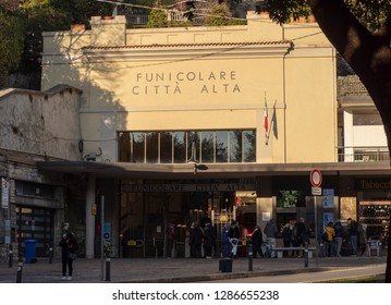 Bergamo, Italy, January 5, 2019. The lower station of the funicular. It connects the new city with the old one. On the facade translation is: funicular to the old town