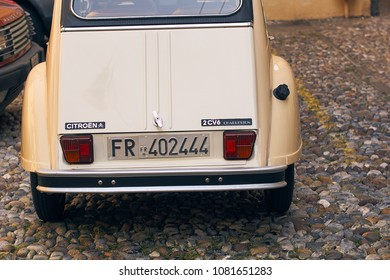 Bergamo, Italy: July 08 2017 - Retro beige Citroen 2 CV 6 Charleston car released circa 1980 in France parked on the street in the Upper City