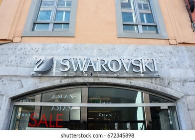BERGAMO, ITALY - JULY, 2014: Swarowski store in Via XX Settembre street in Bergamo, Italy