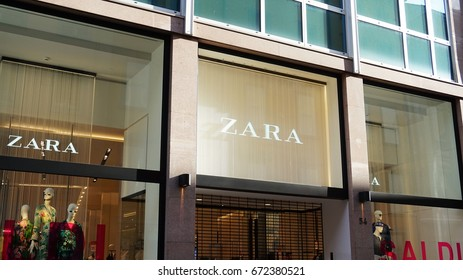 BERGAMO, ITALY - JULY 3, 2017: Zara store. Zara is a Spanish clothing and accessories retailer founded in 1975. It is the main brand of the Inditex group, the world's largest apparel retailer.