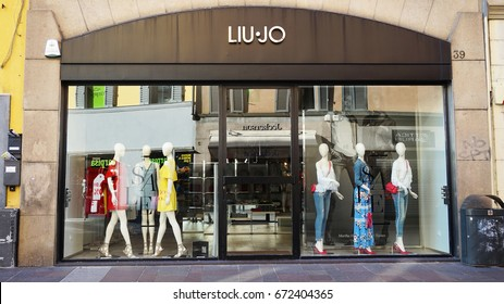 BERGAMO, ITALY -  JULY 3, 2017: the shop window of Liu Jo for men, an Italian fashion brand of clothes, Bergamo, Italy