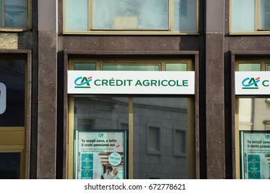 BERGAMO, ITALY - JULY 3, 2017: Credit Agricole logo on a wall. Credit Agricole is a French network of cooperative and mutual banks comprising the 39 Credit Agricole Regional Banks