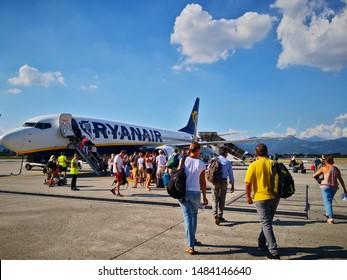 Bergamo, Italy - July 30, 2019: Passengers boarding Ryanair flight at Orio al Serio International Airport.