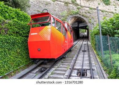 Bergamo, Italy - June 19, 2018: Funiculare San Vigilio in old city of Bergamo. Funicular connects old city and new