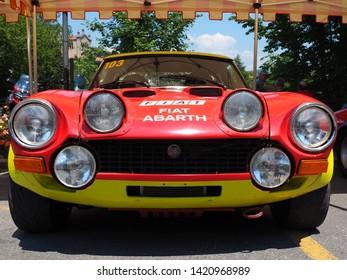 Bergamo, Italy. June 2, 2019. Fiat Abarth historic car, body style details