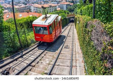 BERGAMO, ITALY - JUNE 30, 2019: View from tunnel with funicular Railway in Citta Alta Bergamo.