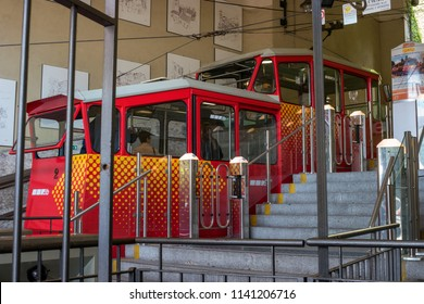 Bergamo, Italy - May 10, 2018: Funiculare San Vigilio - red funicular in old city of Bergamo. The funicular came to the lower station