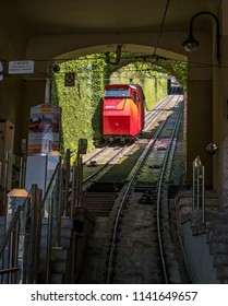 Bergamo, Italy - May 10, 2018: Funiculare San Vigilio - red funicular in old city of Bergamo. The funicular descends to the lower station