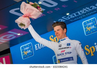 Bergamo, Italy May 21, 2017: Bob Jungels, in white jersey, on the podium after winning the stage of the Tour of Italy with arrival in Bergamo.